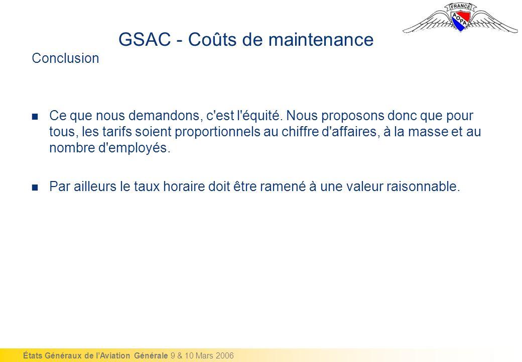États Généraux de lAviation Générale 9 & 10 Mars 2006 Conclusion Ce que nous demandons, c est l équité.