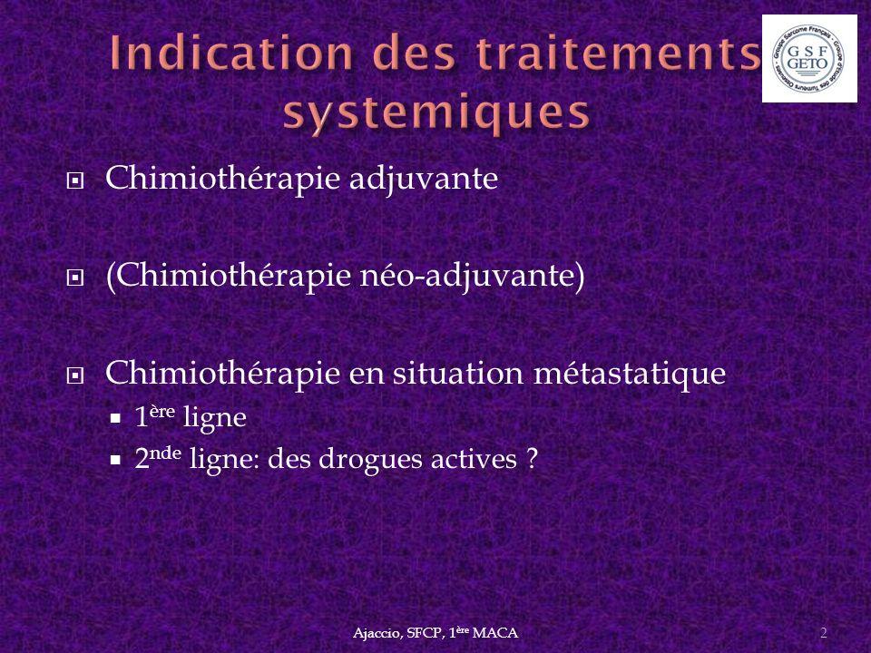 Gemcitabine 1800 mg/m² DTIC 500 mg/m² J1=J15 DTIC 1200 mg/m²/3 sem p n5752 Anthracyclines Ifosfamide 98% 73% PFR356%37%0.001 PFS4.2 mois2.0 mois0.005 OS16.8 mois8.2 mois0.014 Ajaccio, SFCP, 1 ère MACA23