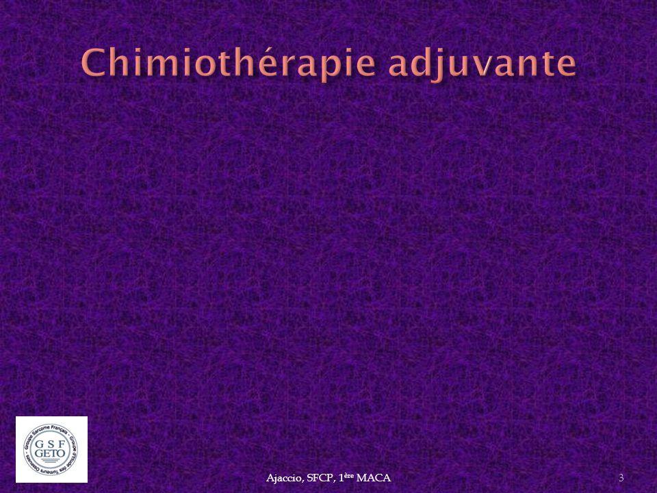 Résultats contradictoires du Gemzar seul ® ou G+D 1 essai randomisé G versus G+D mais 1 ère et 2 ème ligne (Maki et al.) Ajaccio, SFCP, 1 ère MACA24 Investigated treatmentsSubtypes n.