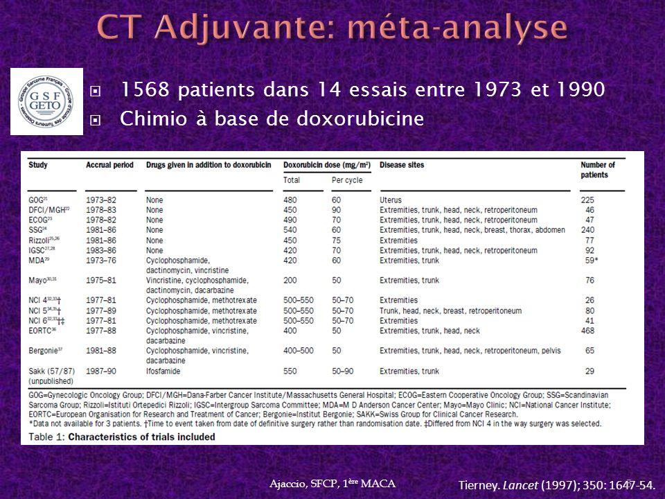 Analyse en sous groupes: bénéfice à 10 ans de 7% (p=0.029) pour les sarcomes des membres de haut grade et de grande taille.