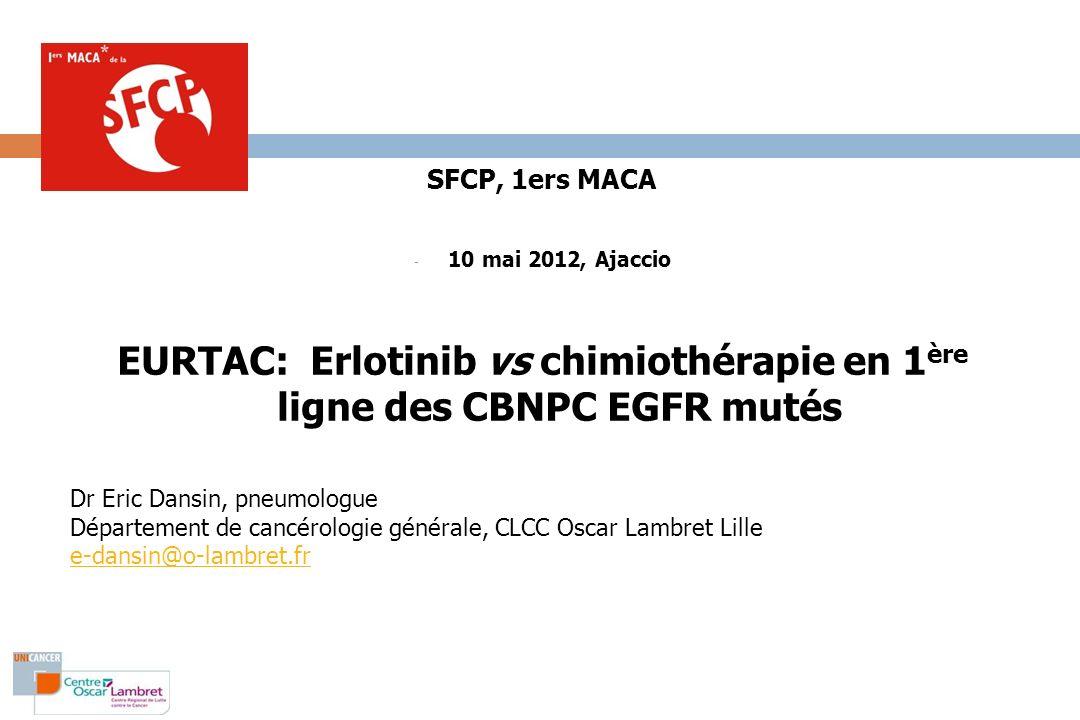 EURTAC, patients (2) Rosell Lancet Oncol 2012:13(3);239-246 * séquençage exons 19 et 21 et PCR *