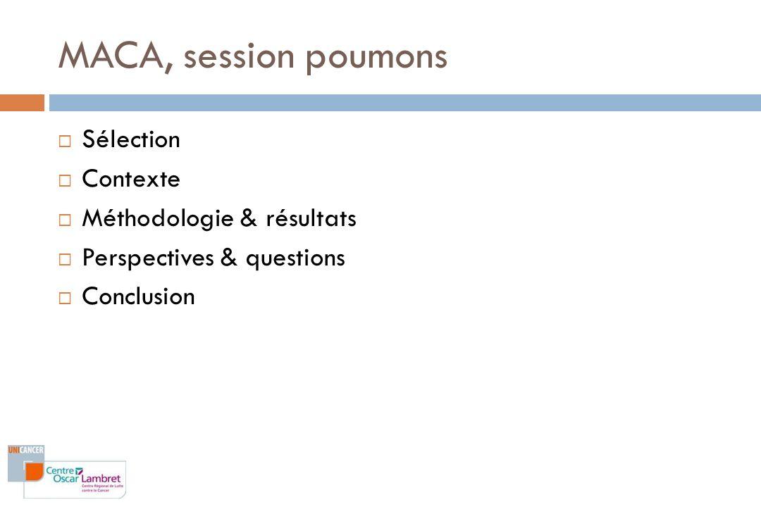 MACA, session poumons Sélection Contexte Méthodologie & résultats Perspectives & questions Conclusion