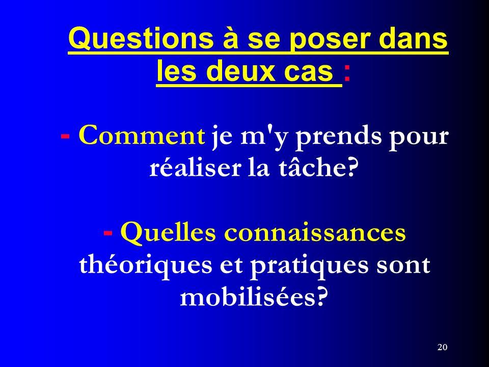 20 Questions à se poser dans les deux cas : - Comment je m'y prends pour réaliser la tâche? - Quelles connaissances théoriques et pratiques sont mobil