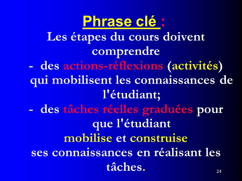 24 Phrase clé : Les étapes du cours doivent comprendre - des actions-réflexions (activités) qui mobilisent les connaissances de l'étudiant; - des tâch