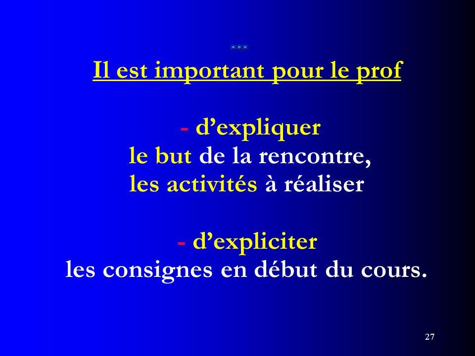 27 *** *** Il est important pour le prof - dexpliquer le but de la rencontre, les activités à réaliser - dexpliciter les consignes en début du cours.