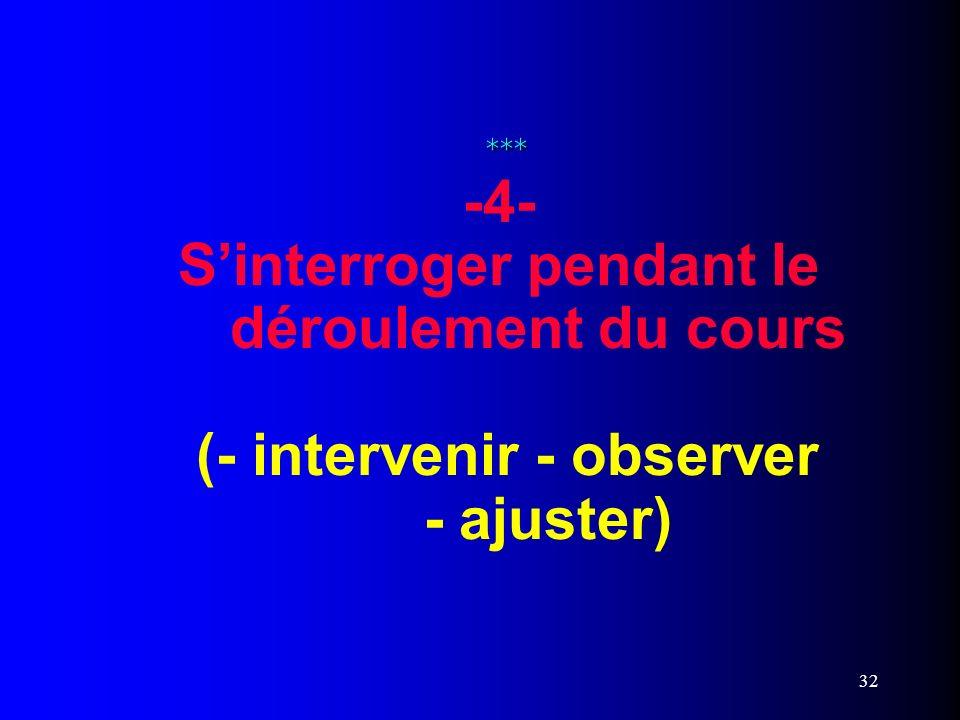 32 *** *** -4- Sinterroger pendant le déroulement du cours (- intervenir - observer - ajuster)
