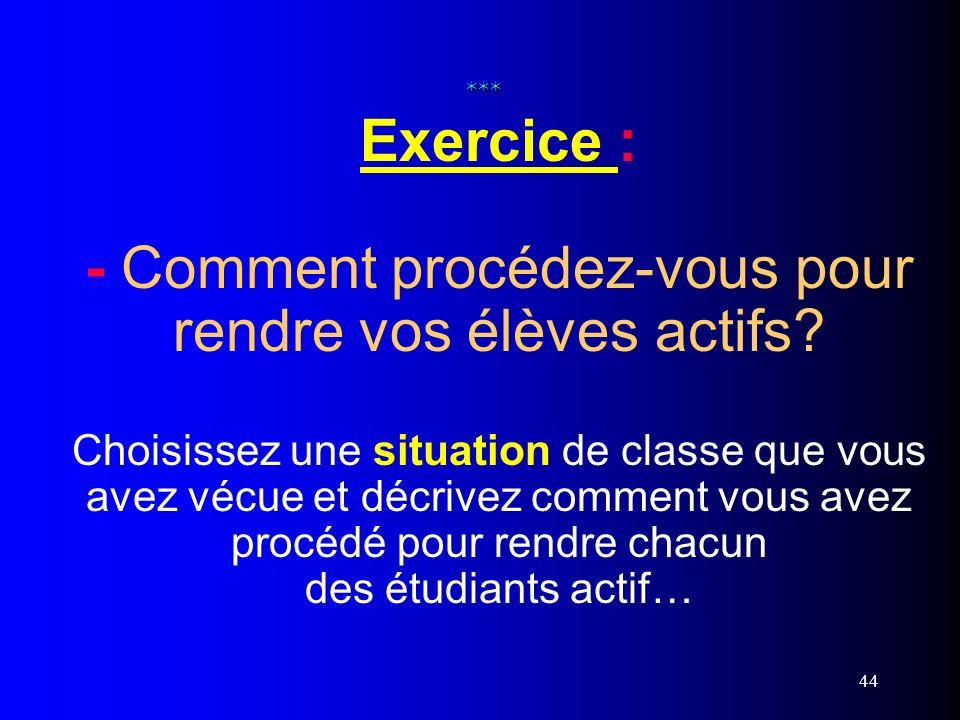 44 *** *** Exercice : - Comment procédez-vous pour rendre vos élèves actifs? Choisissez une situation de classe que vous avez vécue et décrivez commen
