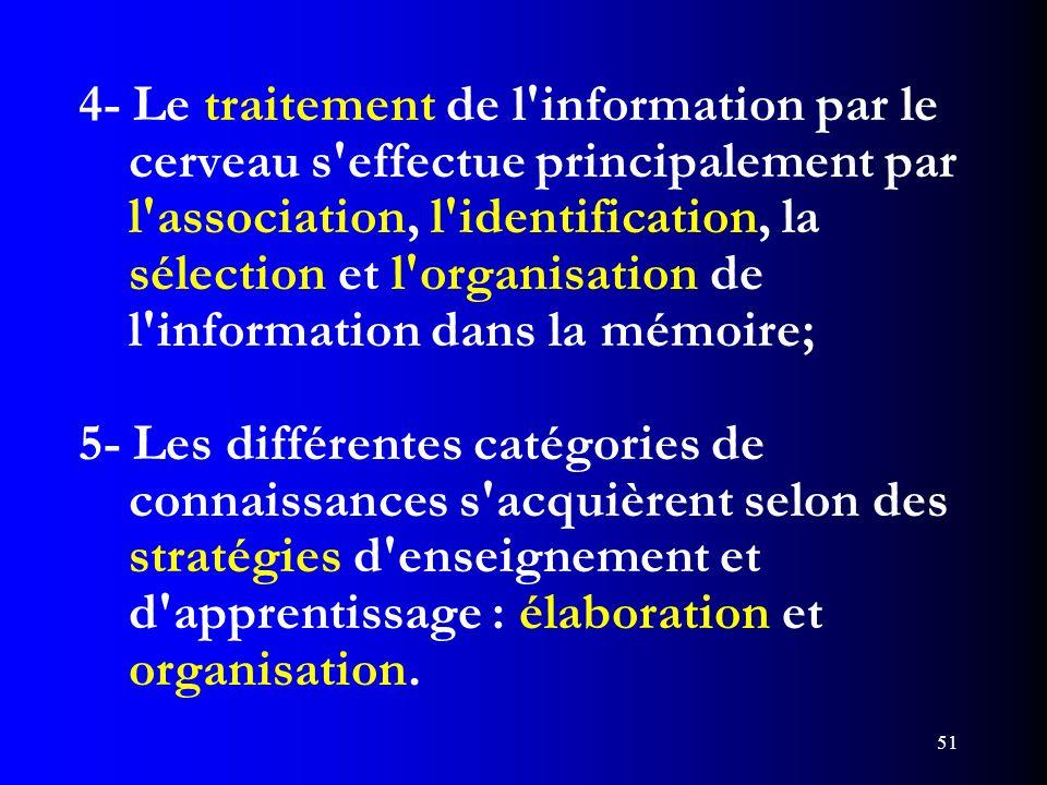 51 4- Le traitement de l'information par le cerveau s'effectue principalement par l'association, l'identification, la sélection et l'organisation de l