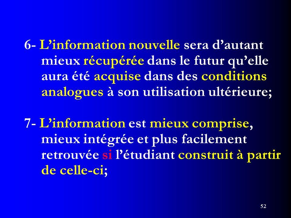 52 6- Linformation nouvelle sera dautant mieux récupérée dans le futur quelle aura été acquise dans des conditions analogues à son utilisation ultérie