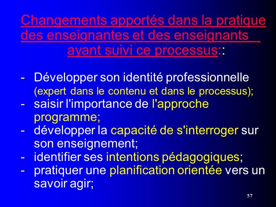 57 Changements apportés dans la pratique des enseignantes et des enseignants ayant suivi ce processus:: - Développer son identité professionnelle (exp