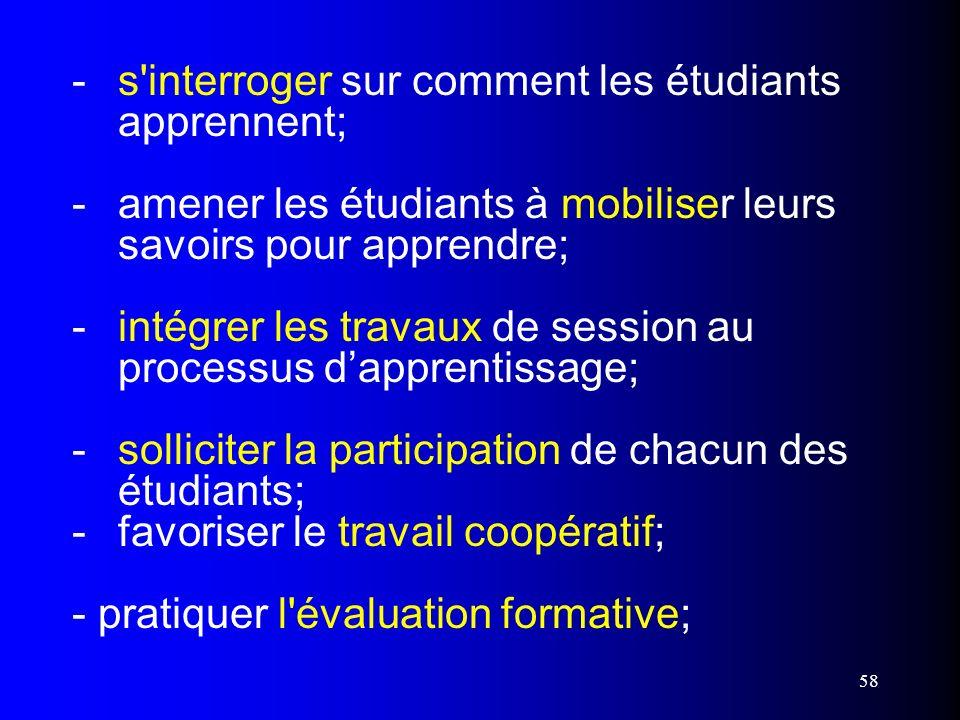 58 - s'interroger sur comment les étudiants apprennent; - amener les étudiants à mobiliser leurs savoirs pour apprendre; - intégrer les travaux de ses