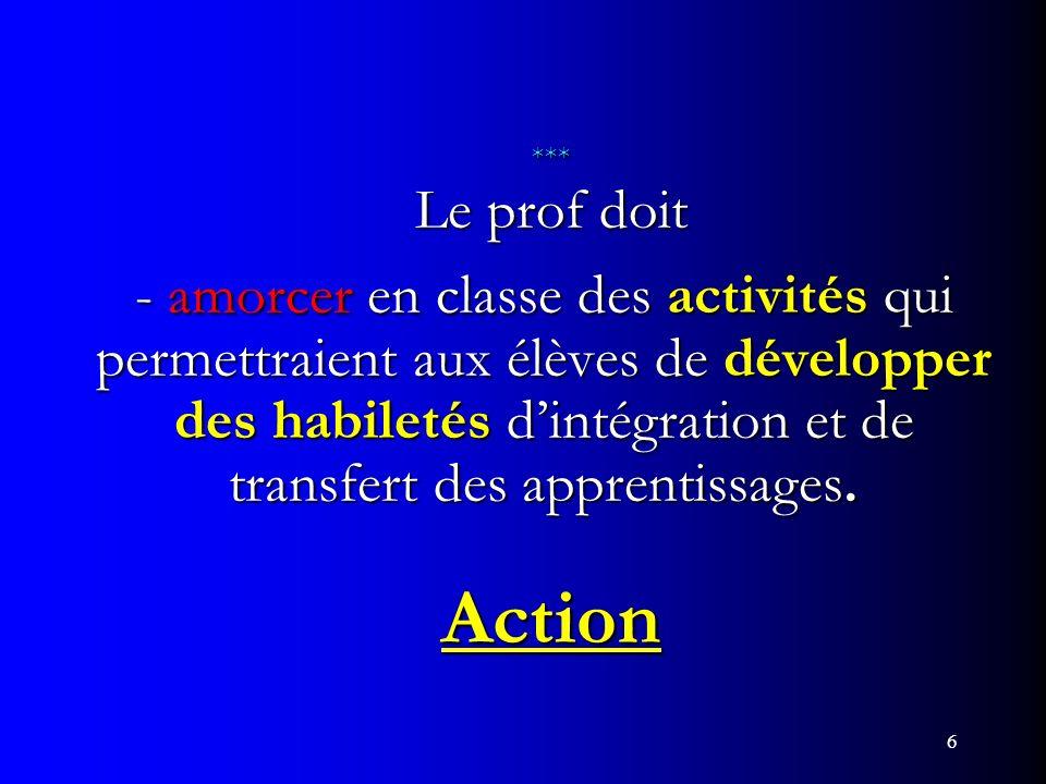 6 *** Le prof doit - amorcer en classe des activités qui permettraient aux élèves de développer des habiletés dintégration et de transfert des apprent