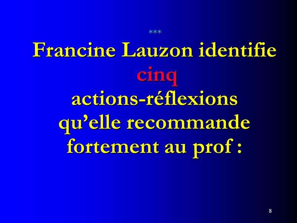 8 *** Francine Lauzon identifie cinq actions-réflexions quelle recommande fortement au prof : *** Francine Lauzon identifie cinq actions-réflexions qu