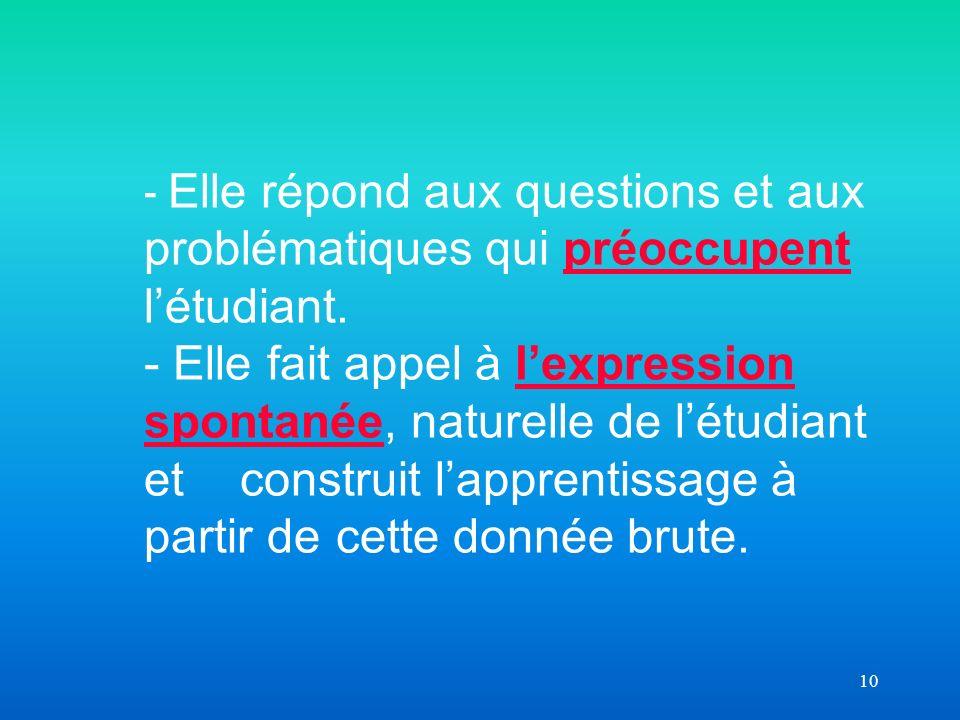 10 - Elle répond aux questions et aux problématiques qui préoccupent létudiant.