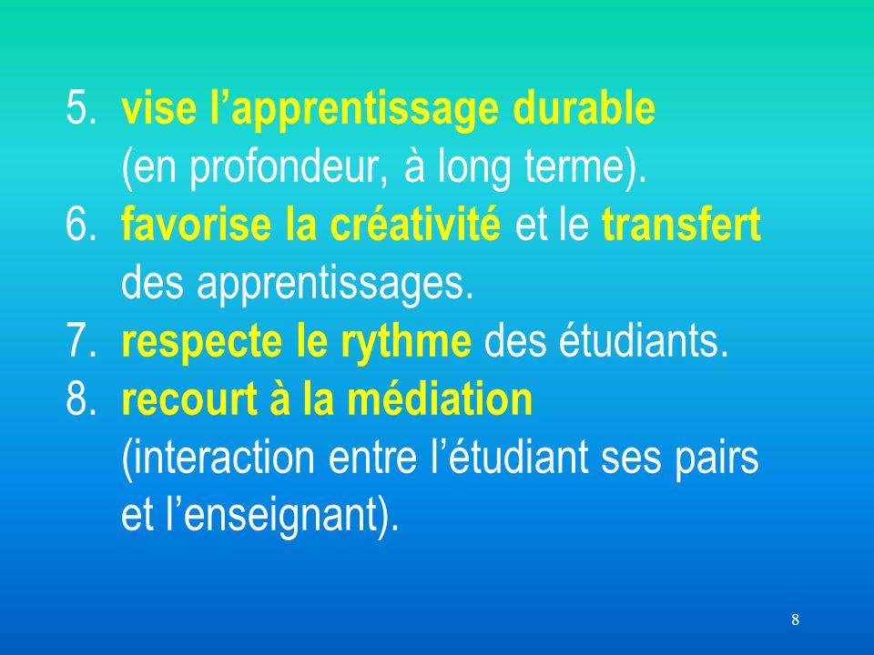 8 5. vise lapprentissage durable (en profondeur, à long terme). 6. favorise la créativité et le transfert des apprentissages. 7. respecte le rythme de