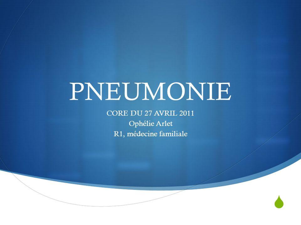 PNEUMONIE CORE DU 27 AVRIL 2011 Ophélie Arlet R1, médecine familiale
