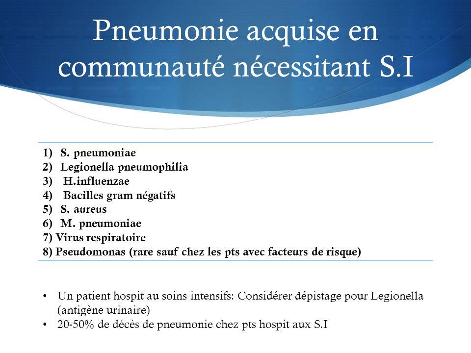 Pneumonie acquise en communauté nécessitant S.I 1)S. pneumoniae 2)Legionella pneumophilia 3) H.influenzae 4) Bacilles gram négatifs 5)S. aureus 6)M. p