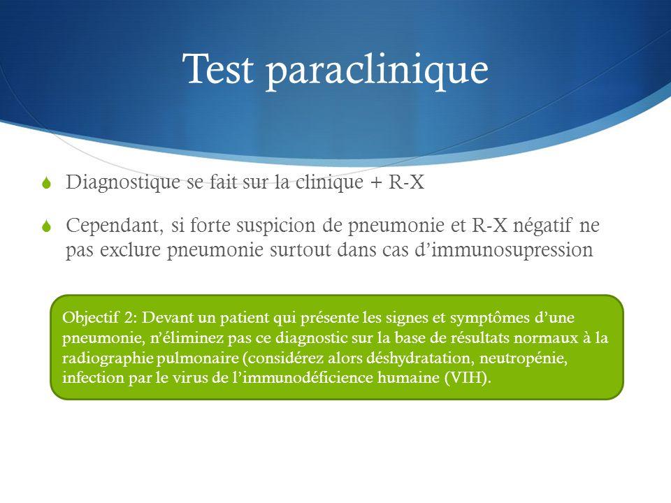Test paraclinique Diagnostique se fait sur la clinique + R-X Cependant, si forte suspicion de pneumonie et R-X négatif ne pas exclure pneumonie surtou