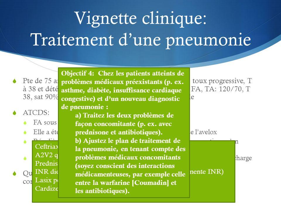 Vignette clinique: Traitement dune pneumonie Pte de 75 ans MPOC arrive à lurgence pour dyspnée, toux progressive, T à 38 et détérioration de létat gén