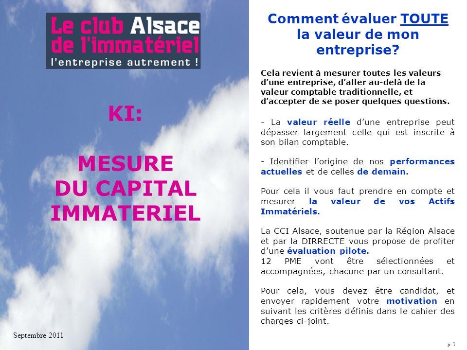 p. 1 KI: MESURE DU CAPITAL IMMATERIEL Septembre 2011 Comment évaluer TOUTE la valeur de mon entreprise? Cela revient à mesurer toutes les valeurs dune