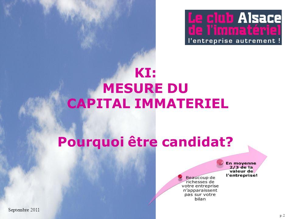 p. 2 KI: MESURE DU CAPITAL IMMATERIEL Pourquoi être candidat? Septembre 2011