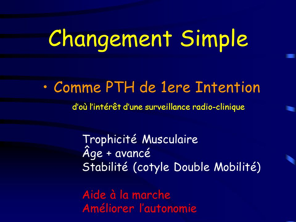 Changement Simple Comme PTH de 1ere Intention doù lintérêt dune surveillance radio-clinique Trophicité Musculaire Âge + avancé Stabilité (cotyle Doubl