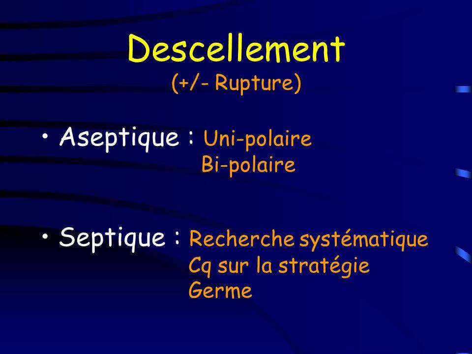 Descellement (+/- Rupture) Aseptique : Uni-polaire Bi-polaire Septique : Recherche systématique Cq sur la stratégie Germe