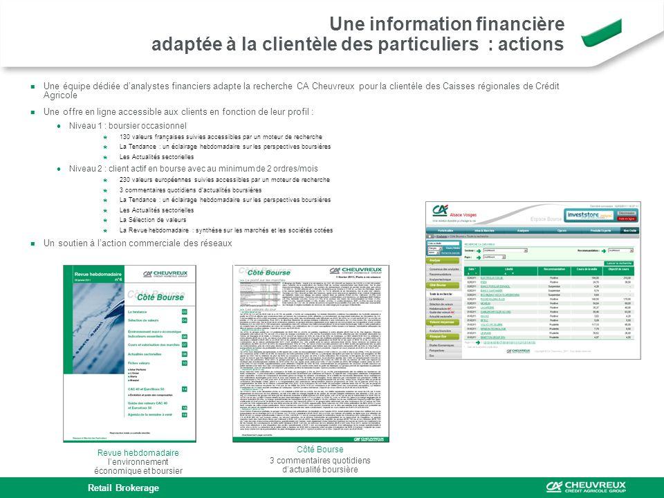 Une équipe dédiée danalystes financiers adapte la recherche CA Cheuvreux pour la clientèle des Caisses régionales de Crédit Agricole Une offre en lign