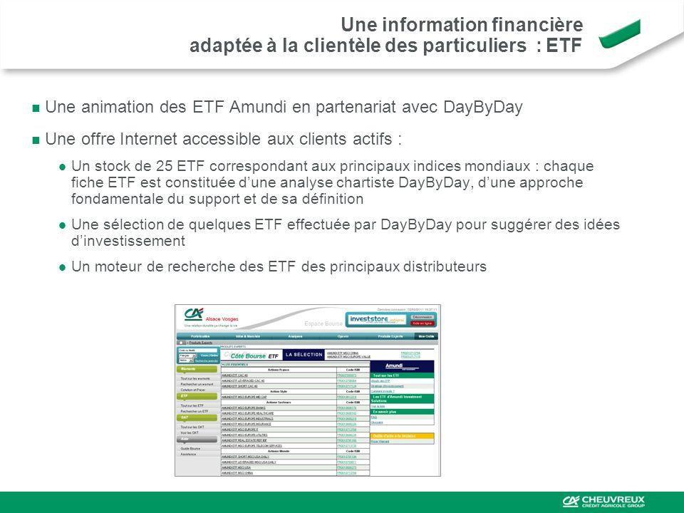 Une animation des ETF Amundi en partenariat avec DayByDay Une offre Internet accessible aux clients actifs : Un stock de 25 ETF correspondant aux prin