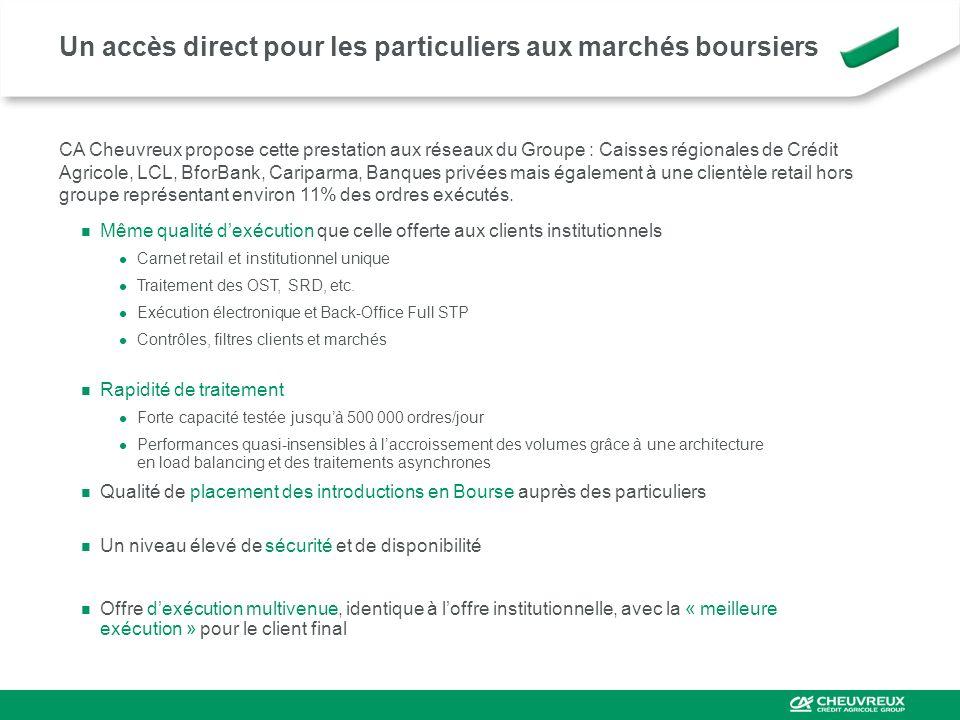 Un accès direct pour les particuliers aux marchés boursiers CA Cheuvreux propose cette prestation aux réseaux du Groupe : Caisses régionales de Crédit