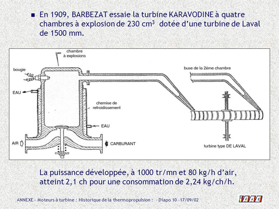 ANNEXE – Moteurs à turbine : Historique de la thermopropulsion : - Diapo 10 -17/09/02 En 1909, BARBEZAT essaie la turbine KARAVODINE à quatre chambres
