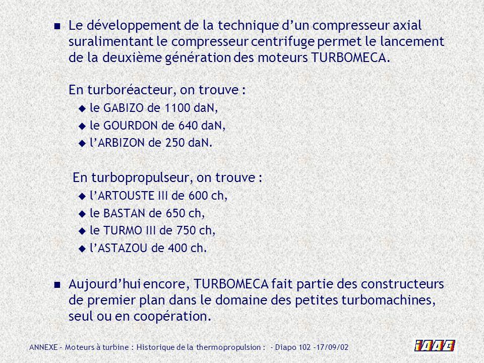 ANNEXE – Moteurs à turbine : Historique de la thermopropulsion : - Diapo 102 -17/09/02 Le développement de la technique dun compresseur axial suralime