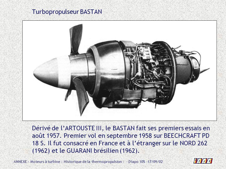 ANNEXE – Moteurs à turbine : Historique de la thermopropulsion : - Diapo 105 -17/09/02 Turbopropulseur BASTAN Dérivé de lARTOUSTE III, le BASTAN fait