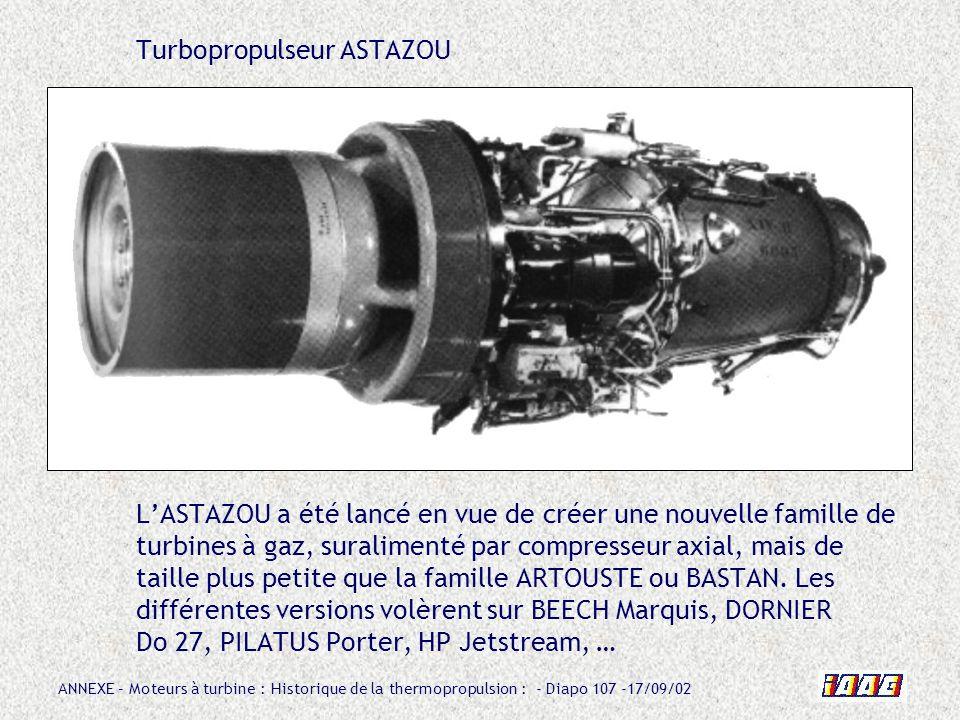 ANNEXE – Moteurs à turbine : Historique de la thermopropulsion : - Diapo 107 -17/09/02 Turbopropulseur ASTAZOU LASTAZOU a été lancé en vue de créer un