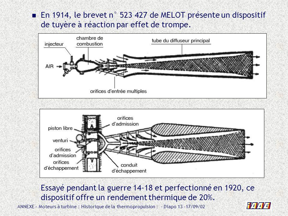 ANNEXE – Moteurs à turbine : Historique de la thermopropulsion : - Diapo 13 -17/09/02 En 1914, le brevet n° 523 427 de MELOT présente un dispositif de