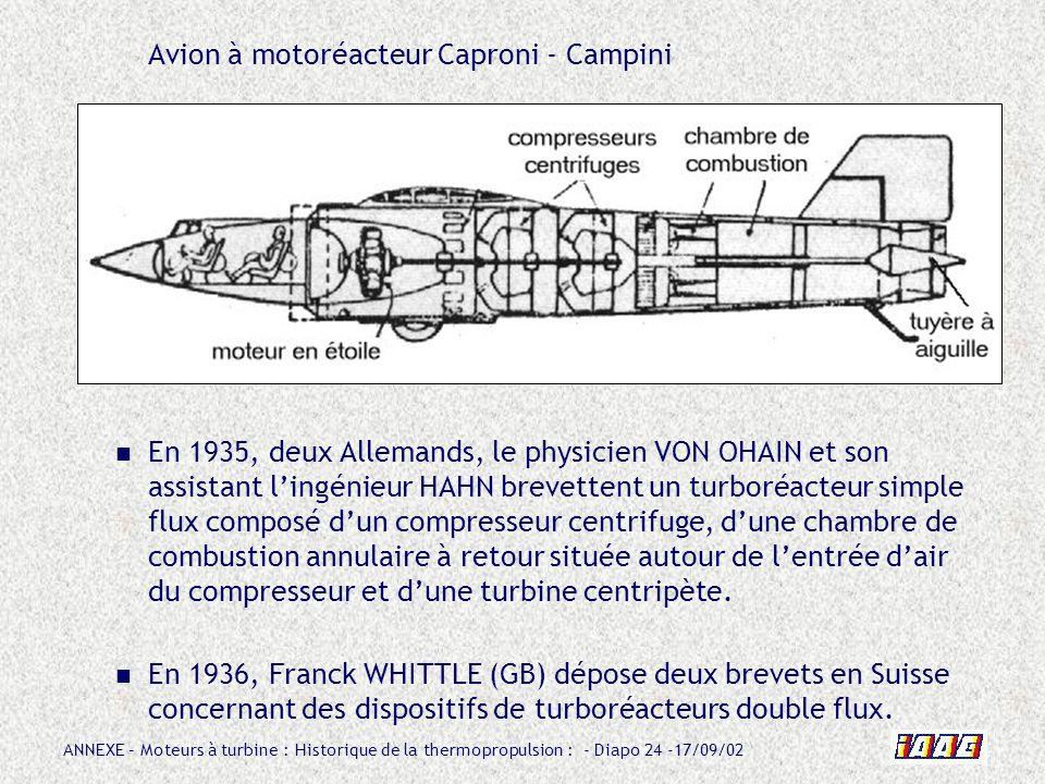 ANNEXE – Moteurs à turbine : Historique de la thermopropulsion : - Diapo 24 -17/09/02 Avion à motoréacteur Caproni - Campini En 1935, deux Allemands,