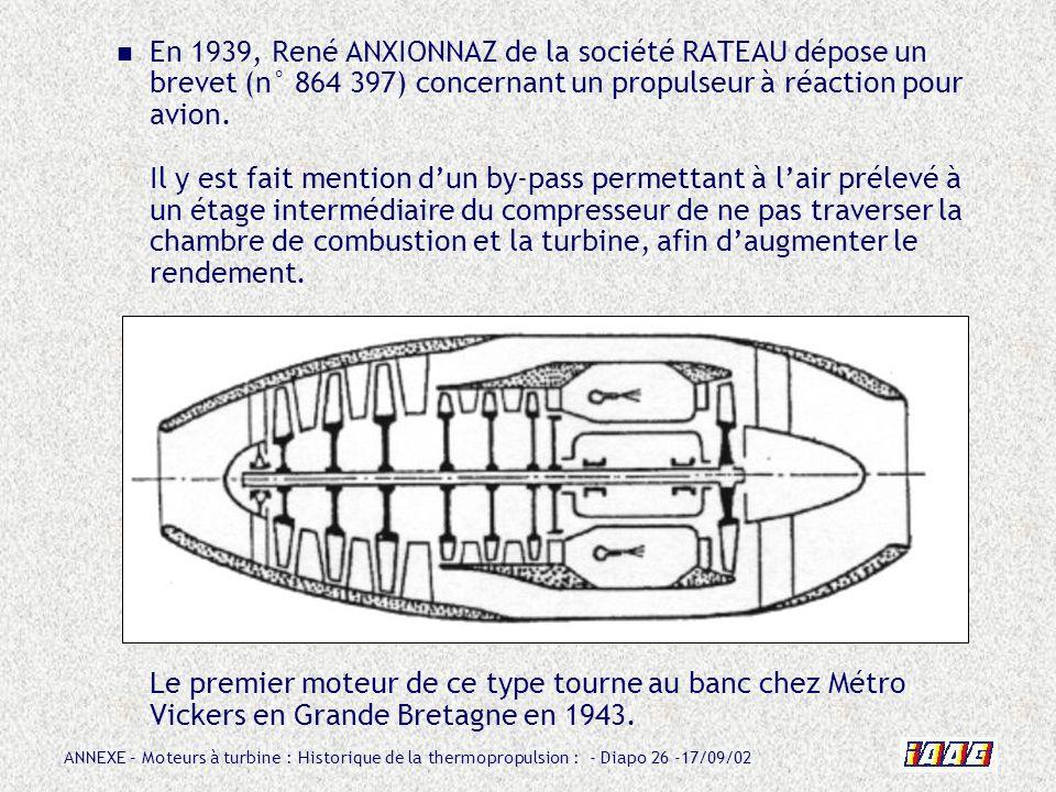 ANNEXE – Moteurs à turbine : Historique de la thermopropulsion : - Diapo 26 -17/09/02 En 1939, René ANXIONNAZ de la société RATEAU dépose un brevet (n