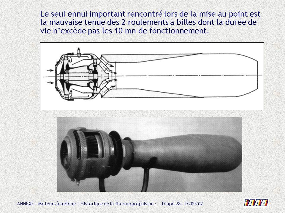 ANNEXE – Moteurs à turbine : Historique de la thermopropulsion : - Diapo 28 -17/09/02 Le seul ennui important rencontré lors de la mise au point est l