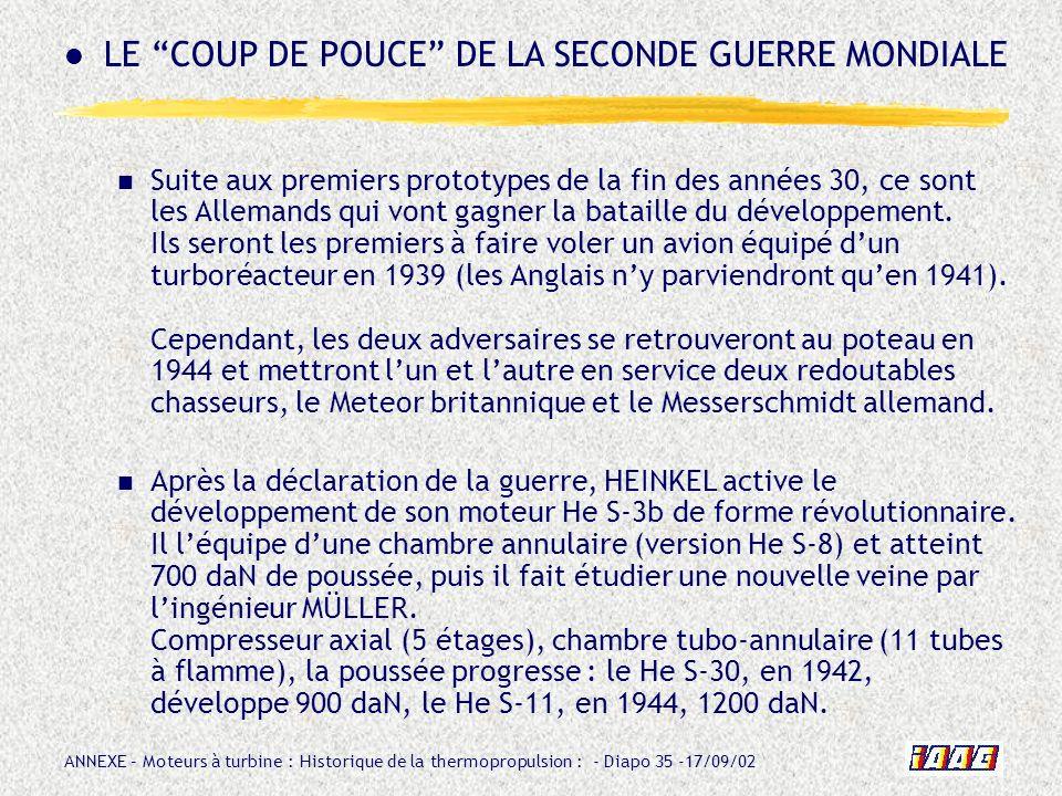 ANNEXE – Moteurs à turbine : Historique de la thermopropulsion : - Diapo 35 -17/09/02 Suite aux premiers prototypes de la fin des années 30, ce sont l