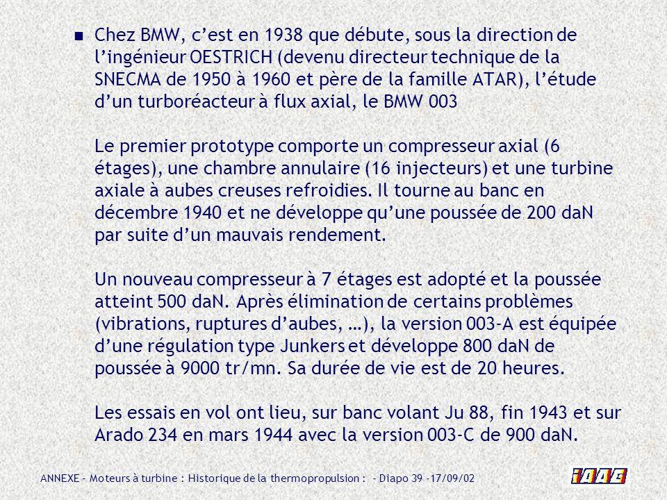 ANNEXE – Moteurs à turbine : Historique de la thermopropulsion : - Diapo 39 -17/09/02 Chez BMW, cest en 1938 que débute, sous la direction de lingénie