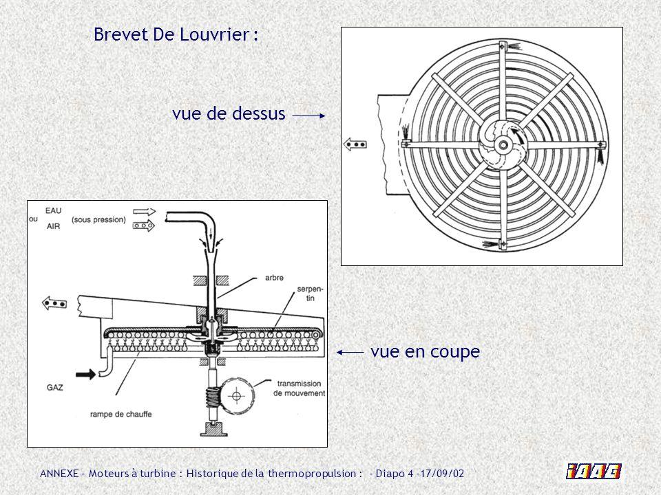 ANNEXE – Moteurs à turbine : Historique de la thermopropulsion : - Diapo 25 -17/09/02 En 1938, LEDUC dépose encore un brevet concernant cette fois une turbine à gaz à rotor unique dans lequel seffectue la compression, la combustion et la détente.