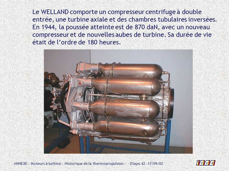 ANNEXE – Moteurs à turbine : Historique de la thermopropulsion : - Diapo 42 -17/09/02 Le WELLAND comporte un compresseur centrifuge à double entrée, u