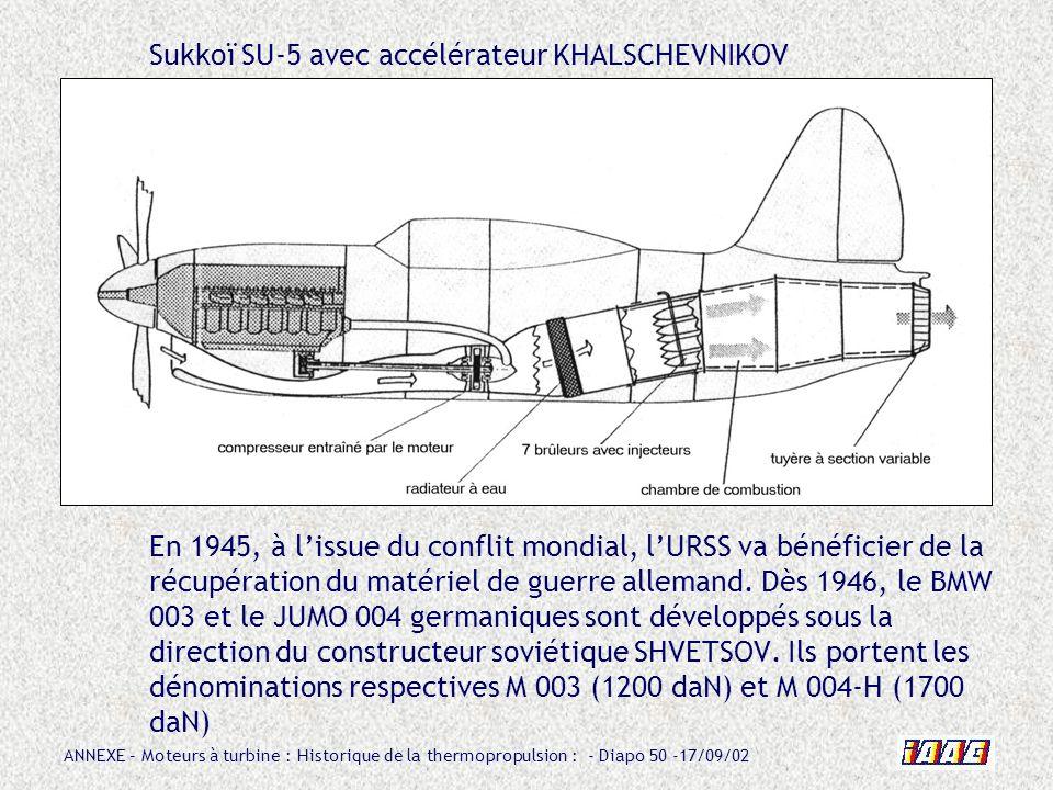 ANNEXE – Moteurs à turbine : Historique de la thermopropulsion : - Diapo 50 -17/09/02 Sukkoï SU-5 avec accélérateur KHALSCHEVNIKOV En 1945, à lissue d