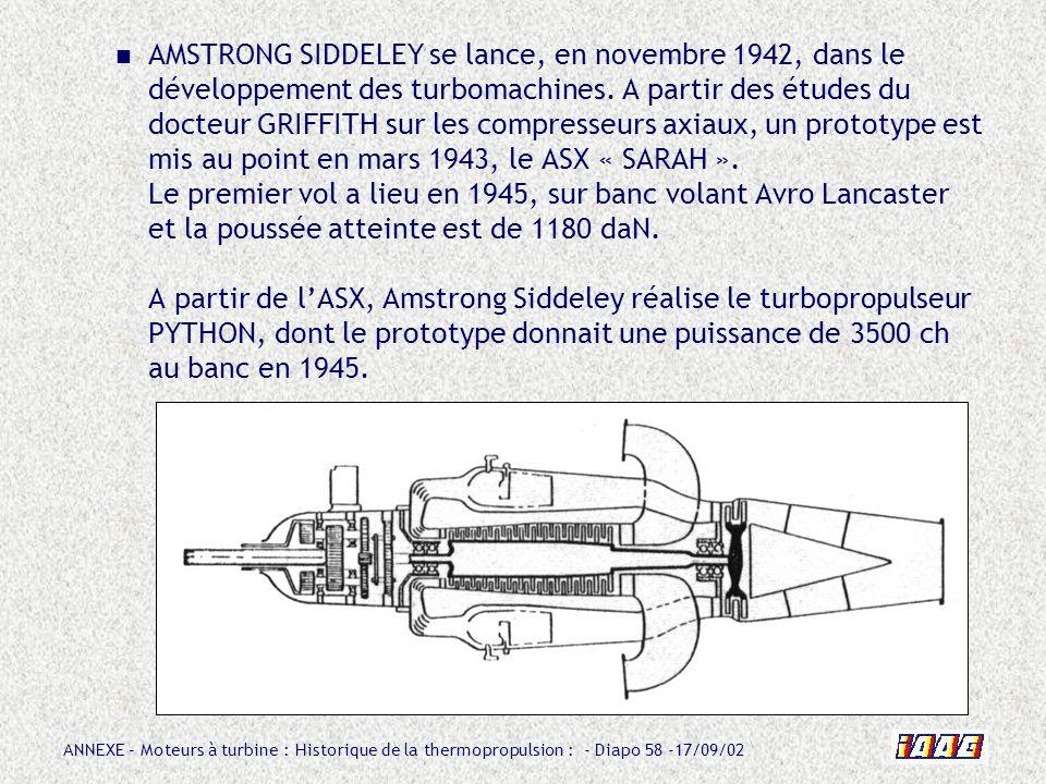 ANNEXE – Moteurs à turbine : Historique de la thermopropulsion : - Diapo 58 -17/09/02 AMSTRONG SIDDELEY se lance, en novembre 1942, dans le développem