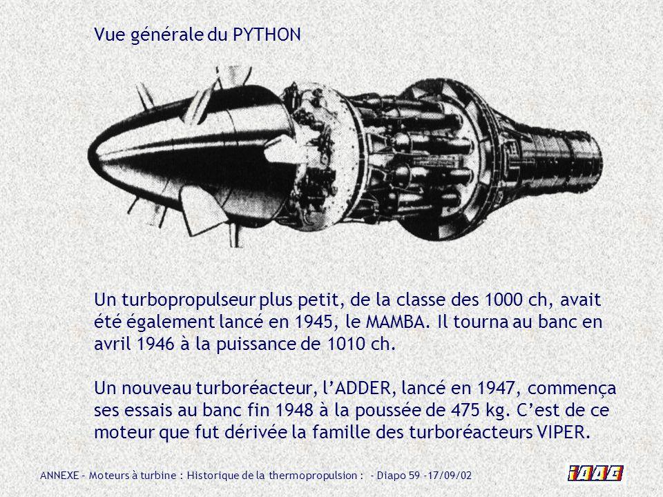 ANNEXE – Moteurs à turbine : Historique de la thermopropulsion : - Diapo 59 -17/09/02 Vue générale du PYTHON Un turbopropulseur plus petit, de la clas