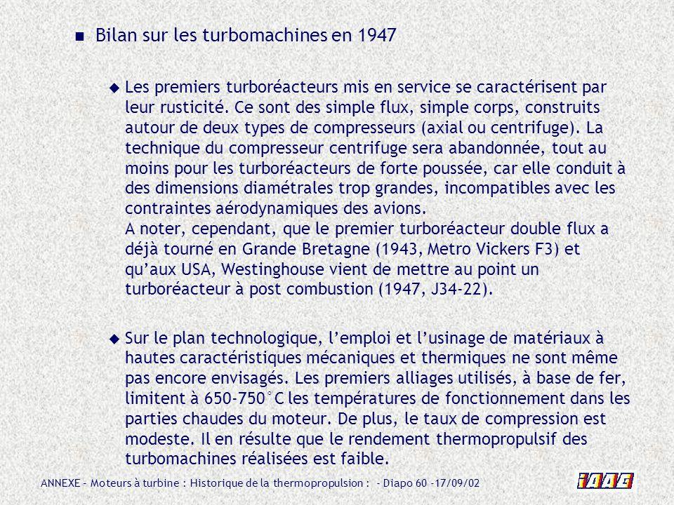 ANNEXE – Moteurs à turbine : Historique de la thermopropulsion : - Diapo 60 -17/09/02 Bilan sur les turbomachines en 1947 Les premiers turboréacteurs
