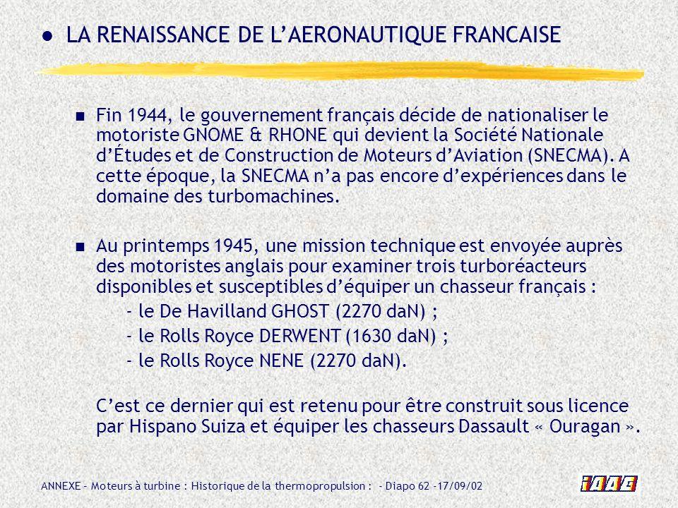 ANNEXE – Moteurs à turbine : Historique de la thermopropulsion : - Diapo 62 -17/09/02 Fin 1944, le gouvernement français décide de nationaliser le mot