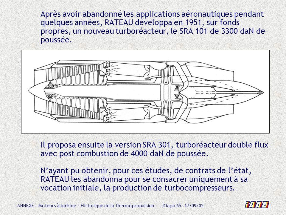 ANNEXE – Moteurs à turbine : Historique de la thermopropulsion : - Diapo 65 -17/09/02 Après avoir abandonné les applications aéronautiques pendant que