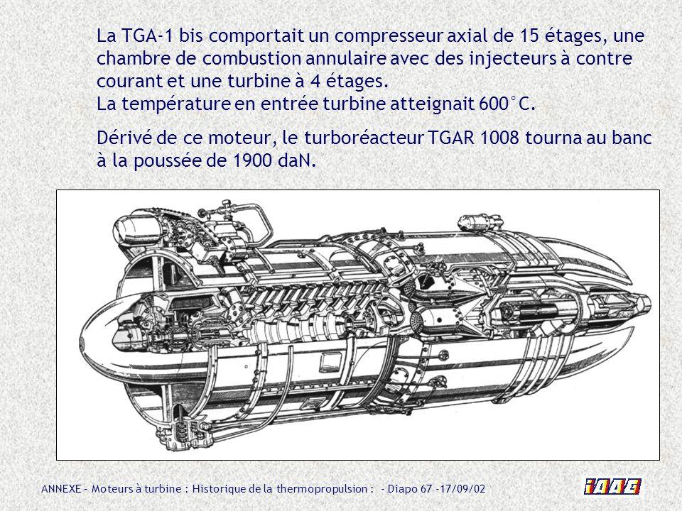 ANNEXE – Moteurs à turbine : Historique de la thermopropulsion : - Diapo 67 -17/09/02 La TGA-1 bis comportait un compresseur axial de 15 étages, une c