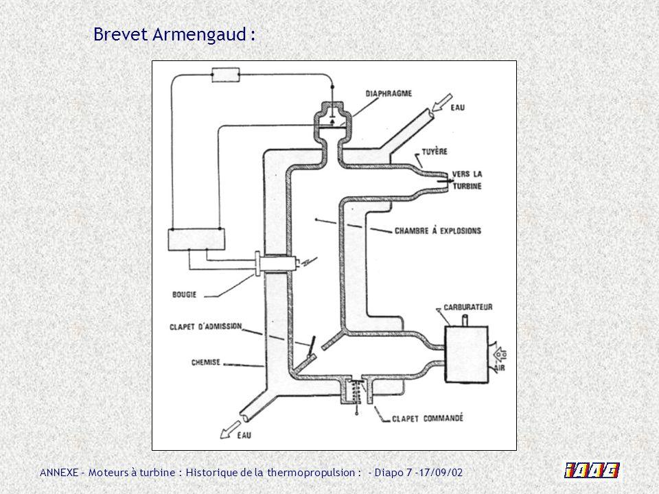 ANNEXE – Moteurs à turbine : Historique de la thermopropulsion : - Diapo 78 -17/09/02 Caractéristiques de lATAR 101 V : Poussée au sol : 1700 daN Vitesse de rotation : 8050 tr/mn Débit dair : 46 kg/s Taux de compression : 4,6 Masse totale : 850 kg Température en entrée turbine : 650°C Consommation spécifique : 1,3 kg/daN.h Rendement compresseur : 0,82 Rendement turbine : 0,78 Rendement combustion : 0,9 Compresseur axial à 7 étages Chambre de combustion annulaire à 20 injecteurs Turbine à 1 étage de 53 aubes en alliage nickel-chrome Tuyère de type à section variable par déplacement dun corps central (aiguille) Diamètre : 1200 mm Longueur totale : 4350 mm